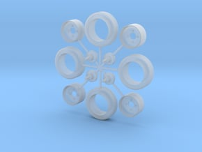 1/25 Wrecker Tow Dolly Wheels in Smooth Fine Detail Plastic