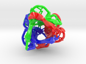 Three-Fold 3PG0 (Ribbon) in Glossy Full Color Sandstone