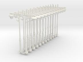 12pcs: N/OO scale Lamp in White Natural Versatile Plastic: 1:160 - N