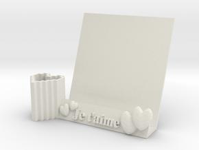 Heart book holder & pen holder in White Natural Versatile Plastic