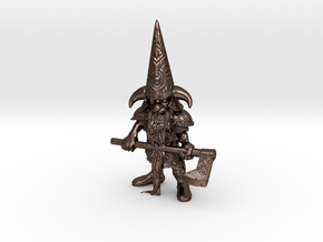 Guardin'Gnome with Axe in Polished Bronze Steel