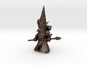 """12"""" Guardin'Gnome with Spear in Polished Bronze Steel"""