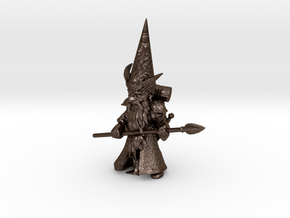 """18"""" Guardin'Gnome with Spear in Polished Bronze Steel"""