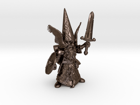 """6"""" Guardin'Gnome with Sword in Polished Bronze Steel"""