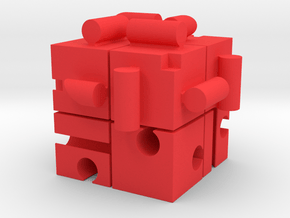 KUMIKIYA Jigsaw Cube [Red] (All pieces) in Red Processed Versatile Plastic