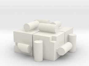 KUMIKIYA Jigsaw Cube [Red] (odd pieces) in White Natural Versatile Plastic