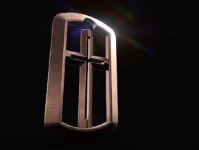 Christian Cross in Dog Tag in 14k Rose Gold Plated Brass