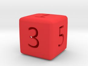 Numeric Dice in Red Processed Versatile Plastic