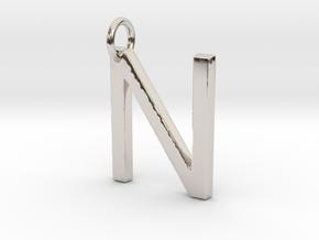 N Pendant-Makom Jewelry in Rhodium Plated Brass