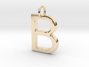 B Pendant-Makom Jewelry in 14k Gold Plated Brass