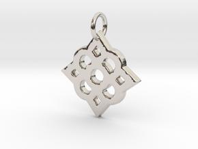 Decorated pendant- Makom Jewelry in Rhodium Plated Brass
