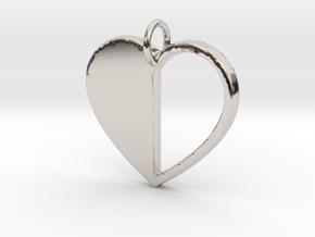 Heart Pendant- Makom Jewelry in Rhodium Plated Brass