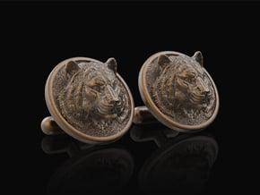 Tiger Cufflinks in Polished Bronze Steel