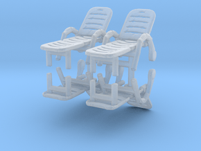 Deck Chair (x4) 1/87 in Smooth Fine Detail Plastic