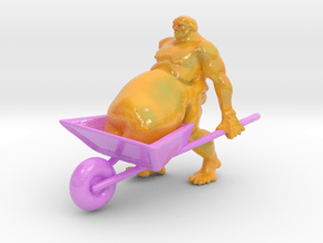 wheelbarrow guy 8 inches in Glossy Full Color Sandstone