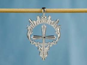 Christian Catholi halo cross necklace pendant in Polished Silver