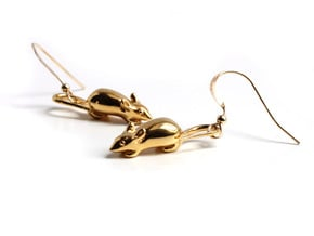 Mouse Earrings - Science Jewelry in 14k Gold Plated Brass