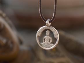 Buddha Silhouette - Amulet in Polished Bronzed-Silver Steel