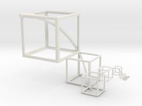 Golden Mean Spiral Cubes in White Natural Versatile Plastic