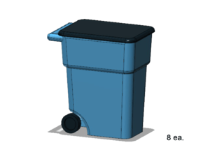 Trash Cans in Smooth Fine Detail Plastic: 1:87 - HO
