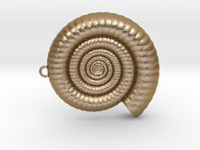 Clamshell - Ammonite Charm 3D Model  -  3D Pendant in Polished Gold Steel