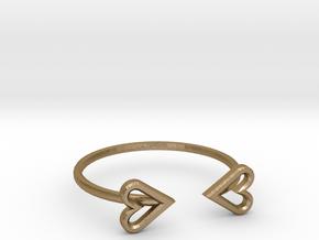FLYHIGH: Open Heart Skinny Bracelet in Polished Gold Steel