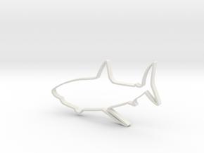 Shark Outline Necklace Pendant in White Natural Versatile Plastic