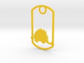 Stegosaurus dog tag in Yellow Processed Versatile Plastic