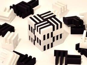 Puzzle Cube, Negative (black) pieces in Black Natural Versatile Plastic