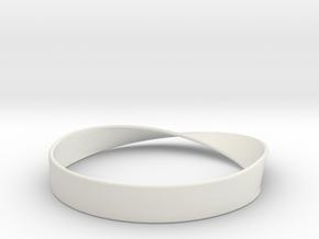 Möbius Bracelet Bangle in White Natural Versatile Plastic: Small