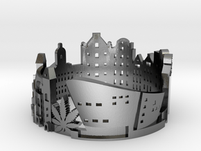 Amsterdam Skyline - Cityscape Ring in Polished Silver: 8 / 56.75