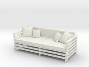 Miniature Garden / Patio Sofa in White Natural Versatile Plastic
