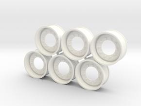 Generic Rims 1:24 Scale in White Processed Versatile Plastic