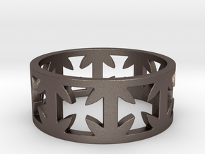 Outlaw Biker Cross Ring Size 13 in Polished Bronzed Silver Steel