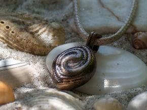 Swirl Pendant - Small / Medium in Polished Bronze Steel: Small