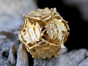 Botanical Die12 (Maple) Mini in Natural Brass