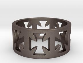 Outlaw Biker Cross Ring Size 10 in Polished Bronzed Silver Steel