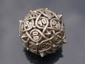 Multiplicitous d10 Decader in Polished Bronzed-Silver Steel