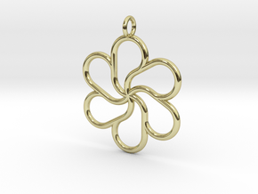 6petal pendant 28mm in 18k Gold Plated Brass