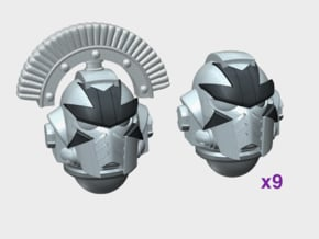 10x Cross Face - G:10 Prime Helms : Squad 1 in Smooth Fine Detail Plastic
