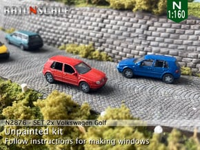 SET 2x Volkswagen Golf 5-Türer (N 1:160) in Smooth Fine Detail Plastic