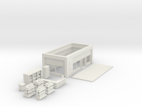 Convenience Store & Accessories in N Scale 1:160 in White Natural Versatile Plastic