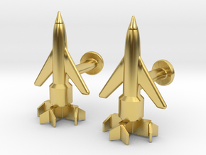 Thunderbird 1 Cufflinks in Polished Brass