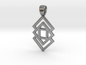 Triple square [pendant] in Polished Silver