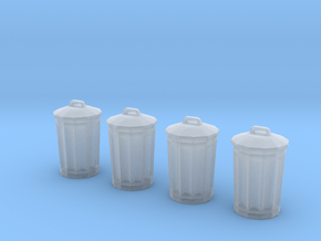 City Street Trash Can Set 4pcs 1:87 / 1:64 in Smooth Fine Detail Plastic: 1:87 - HO