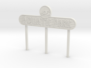 Modern Aquatic Park Sign in White Natural Versatile Plastic