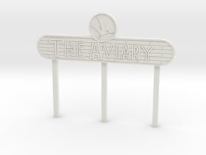Modern Aviary Sign in White Natural Versatile Plastic