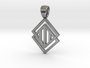 Squares'n hatches [pendant] in Polished Silver