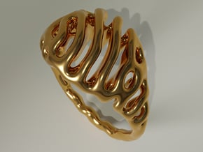 """Ring """"Reaction Diffusion"""" Size 52 (16.6mm) in Polished Bronze"""