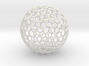 Goldberg [3,2] Sphere, 1.5 mm wires in White Natural Versatile Plastic